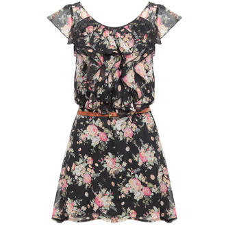 View Item Black Floral Ruffle Dress