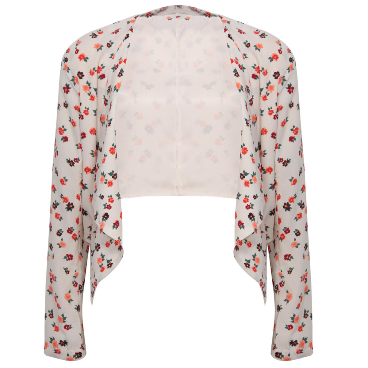 Cropped Floral Print Waterfall Jacket Preview