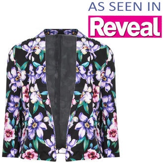 View Item Cropped Floral Print Blazer