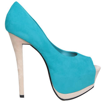 View Item SIZE 3 ONLY Colour Block Peeptoe Platform Shoe
