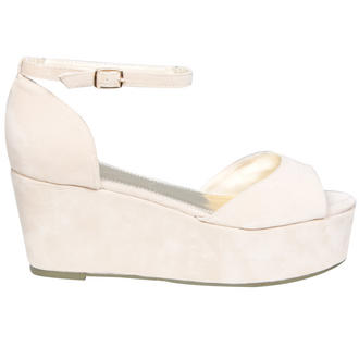 View Item Cream Peeptoe Ankle Strap Flatform