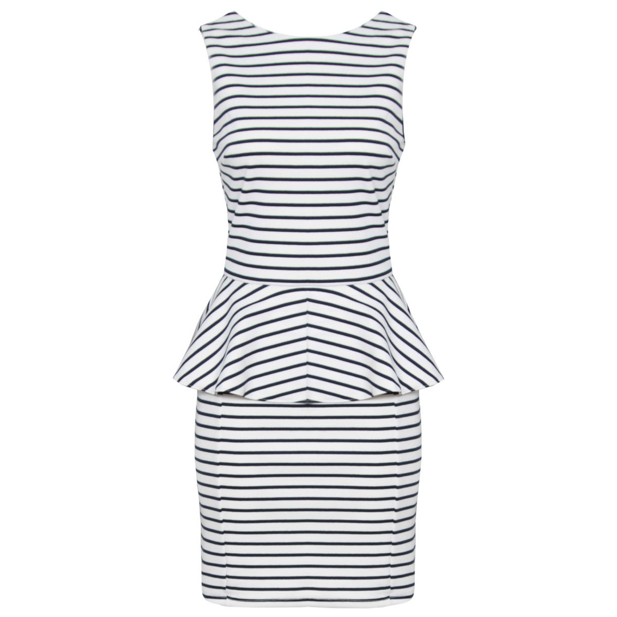 Striped Tailored Peplum Dress Preview