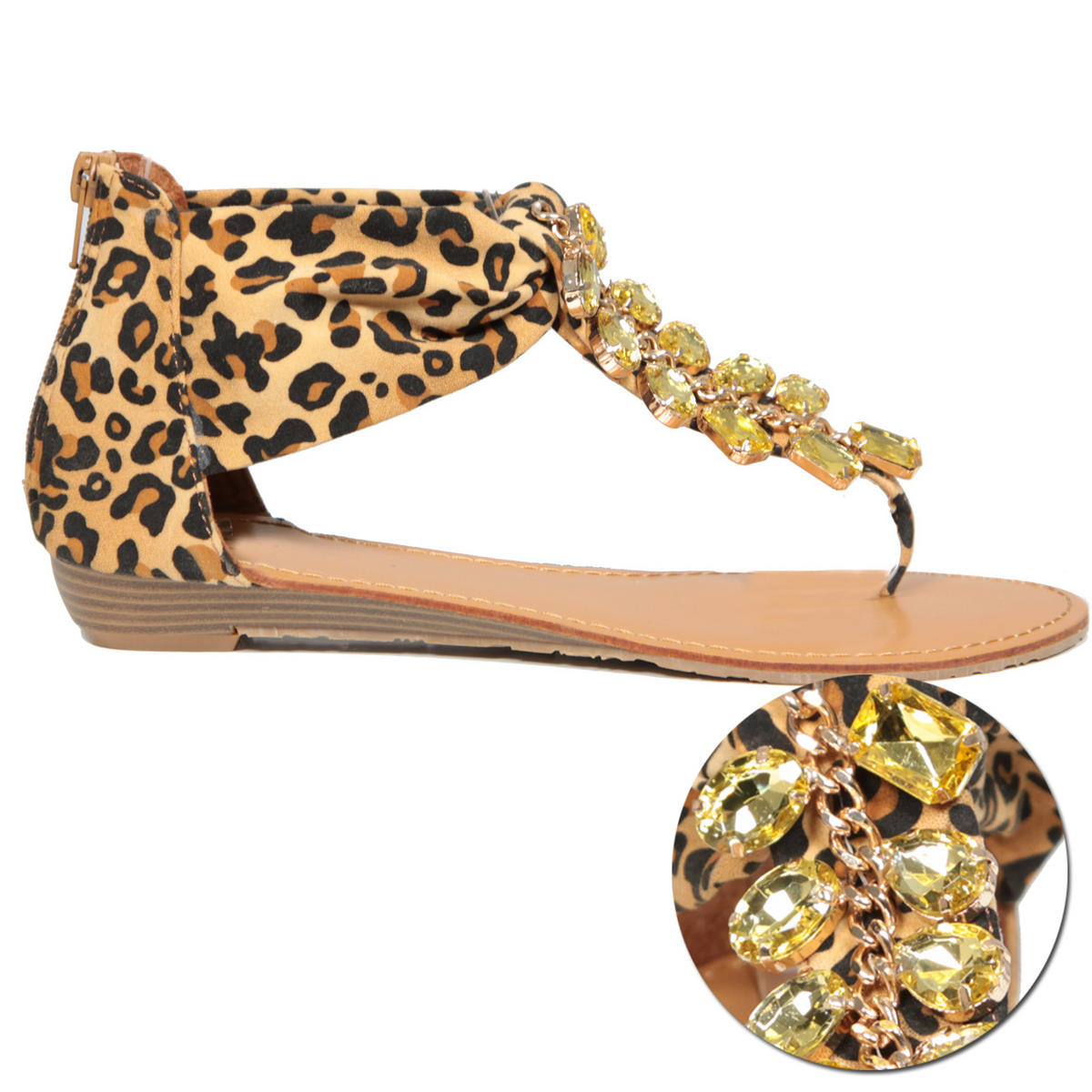Leopard Print Jewel Sandal Shoe Preview