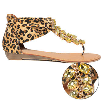 View Item Leopard Print Jewel Sandal Shoe
