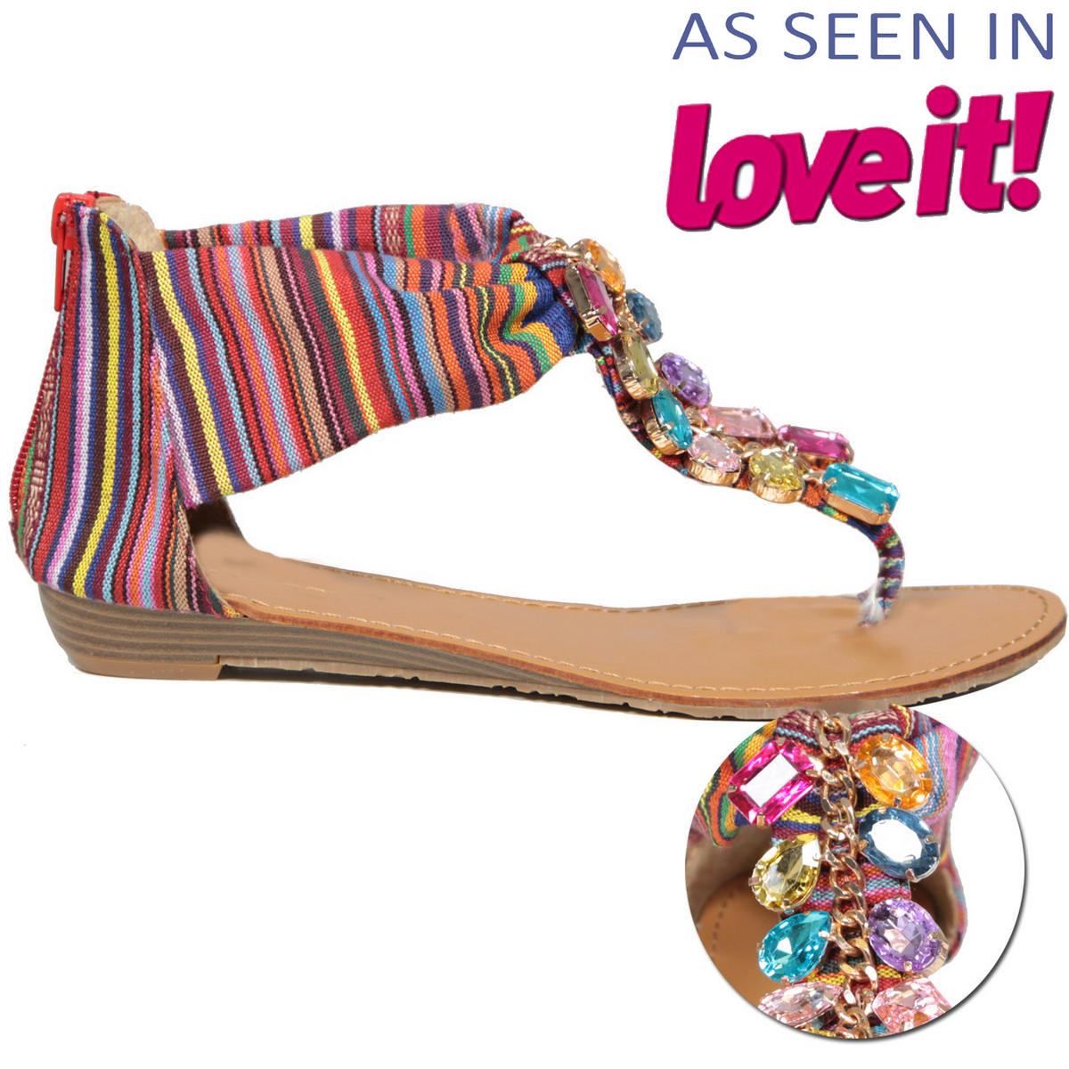 SIZE 3 ONLY Multi Stripe Jewel Sandal Shoe Preview