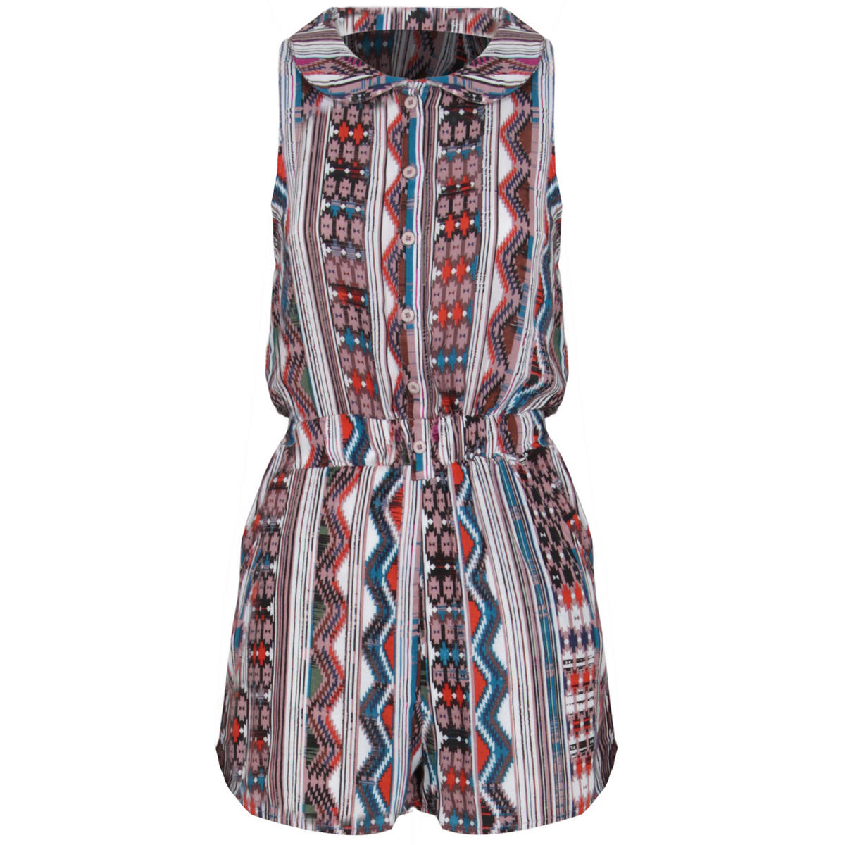 Tribal Print Peter Pan Collar Playsuit In Blue Preview