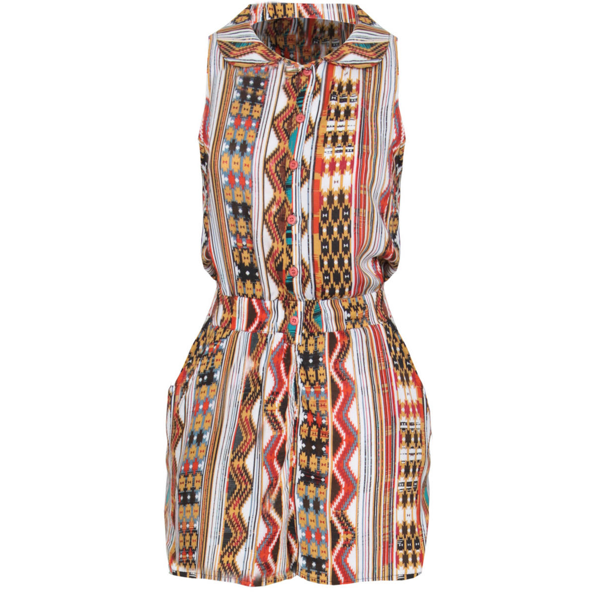 Tribal Print Peter Pan Collar Playsuit In Red Preview