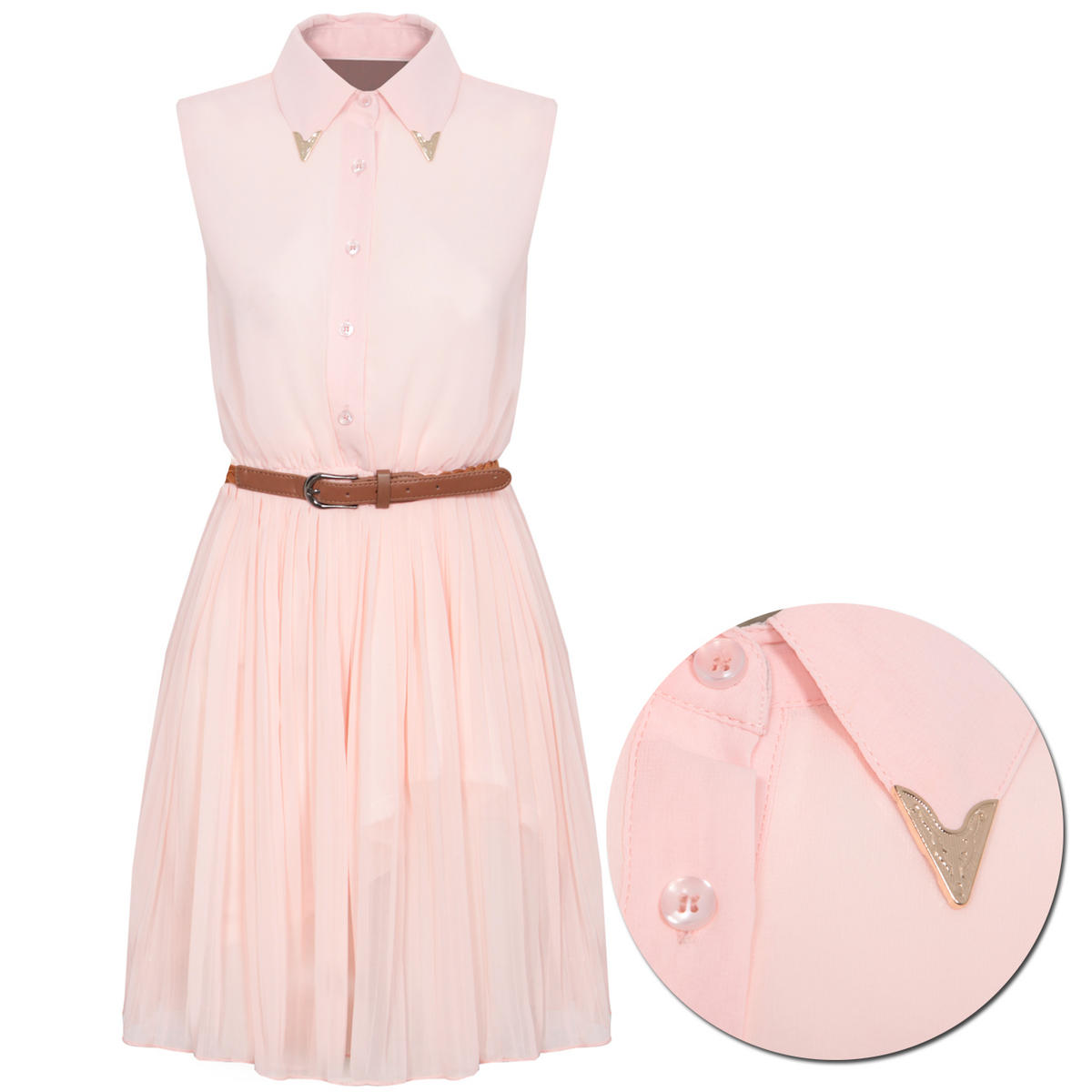 Nude Pleated Shirt Dress Preview