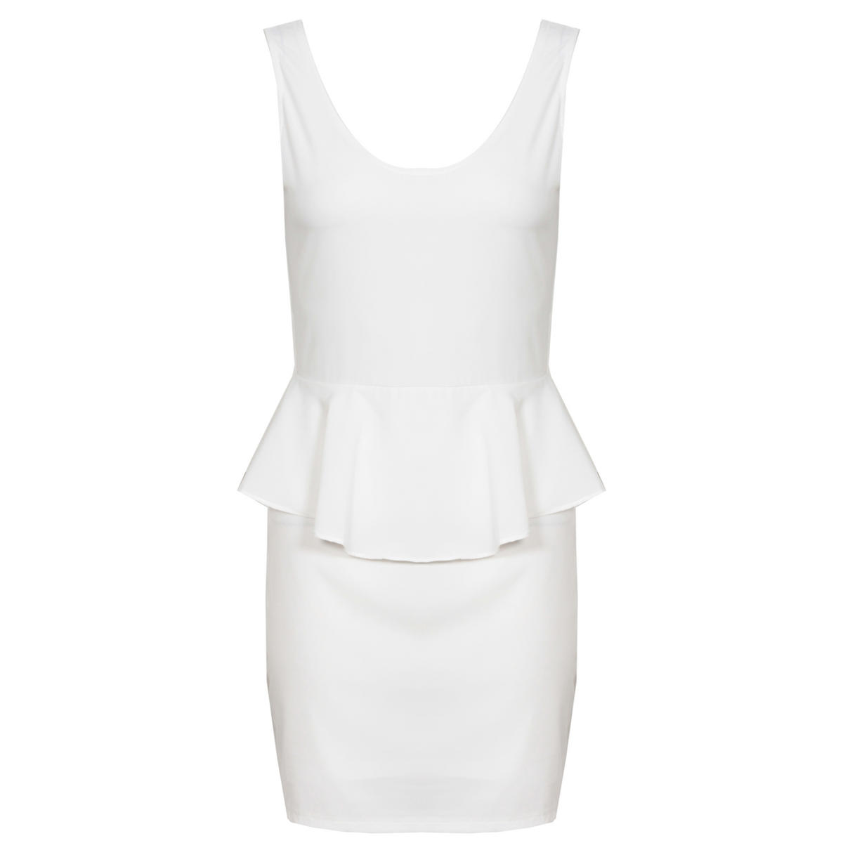 White Peplum Dress With Cut Out Back Preview