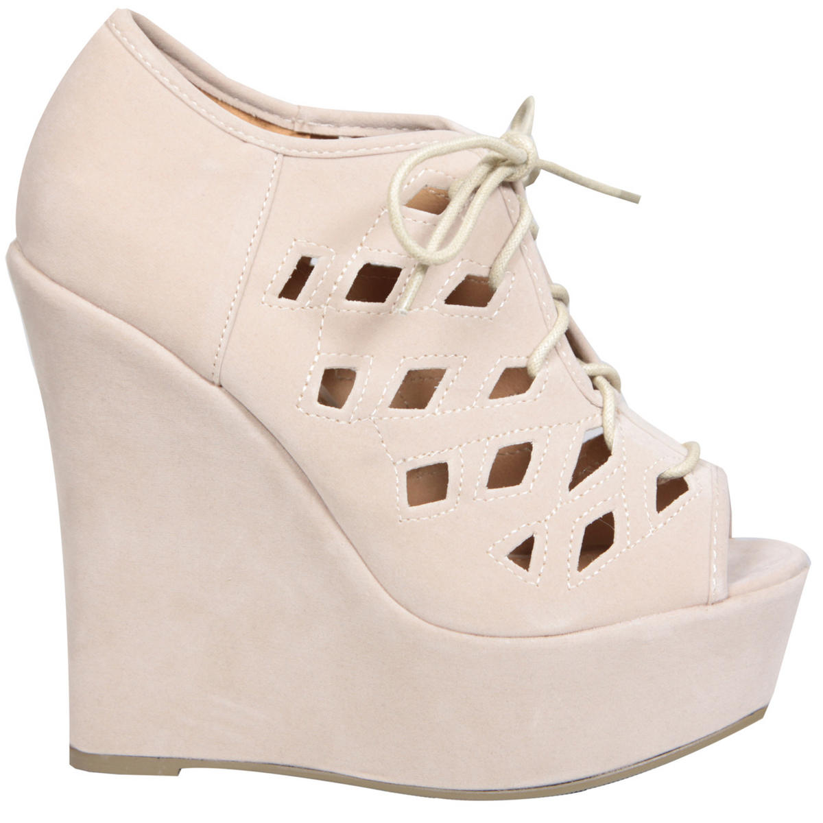 Cream Lace Up Cut Out Wedge Shoe Preview