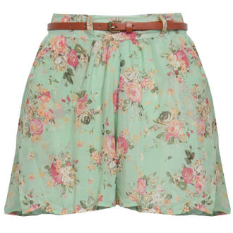 View Item Mint Floral Belted Culotte Short