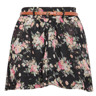 View Item Black Floral Belted Culotte Short