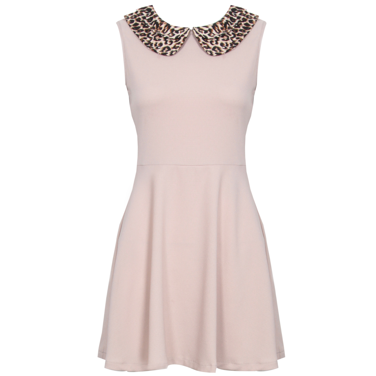 Leopard Print Peter Pan Collar Nude Dress Preview