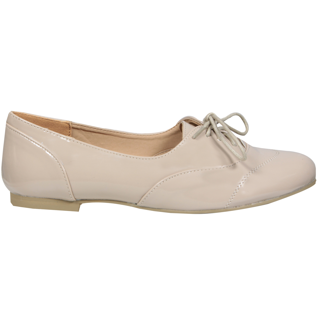 Cream Patent Lace Up Brogue Shoe Preview