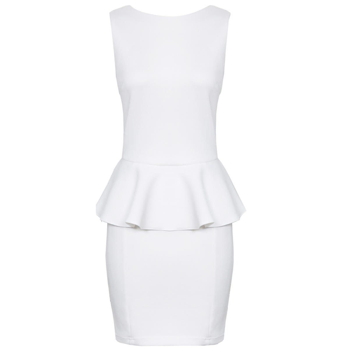 White Tailored Peplum Dress Preview