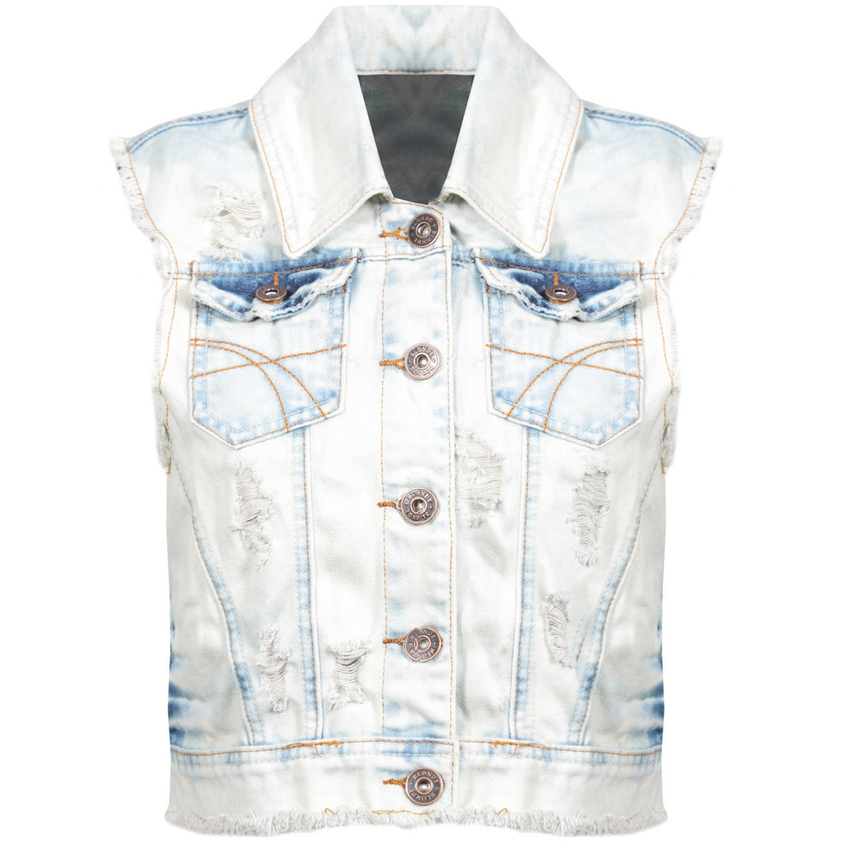 Stone Wash Distressed Denim Waistcoat Preview