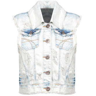 View Item Stone Wash Distressed Denim Waistcoat