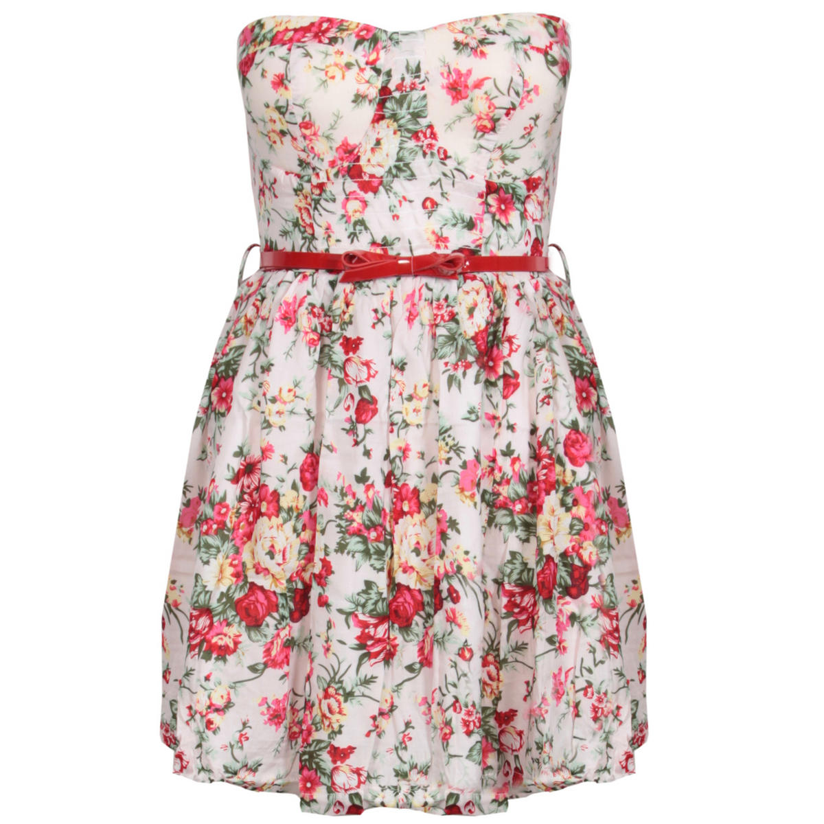 Floral Belted Bandeau Dress Preview