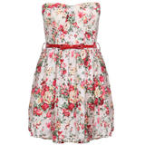 Floral Belted Bandeau Dress