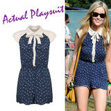 Blue Polka Dot Peter Pan Collar Playsuit