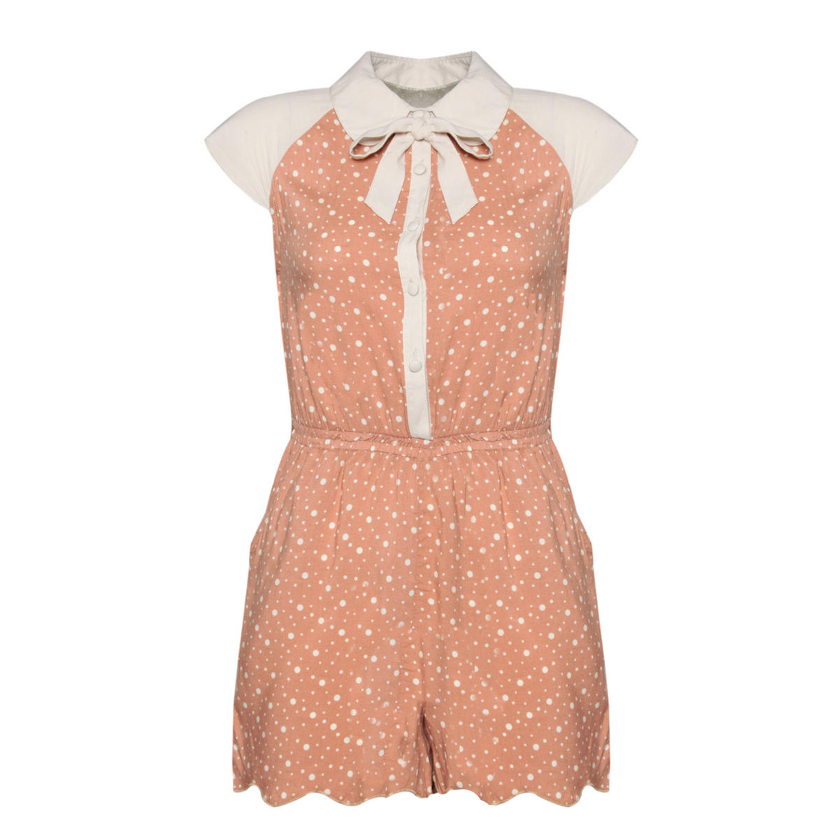 Beige Polka Dot Peter Pan Collar Playsuit Preview