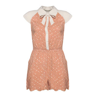 View Item Beige Polka Dot Peter Pan Collar Playsuit