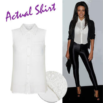 View Item White Sequin Collar Sleeveless Shirt