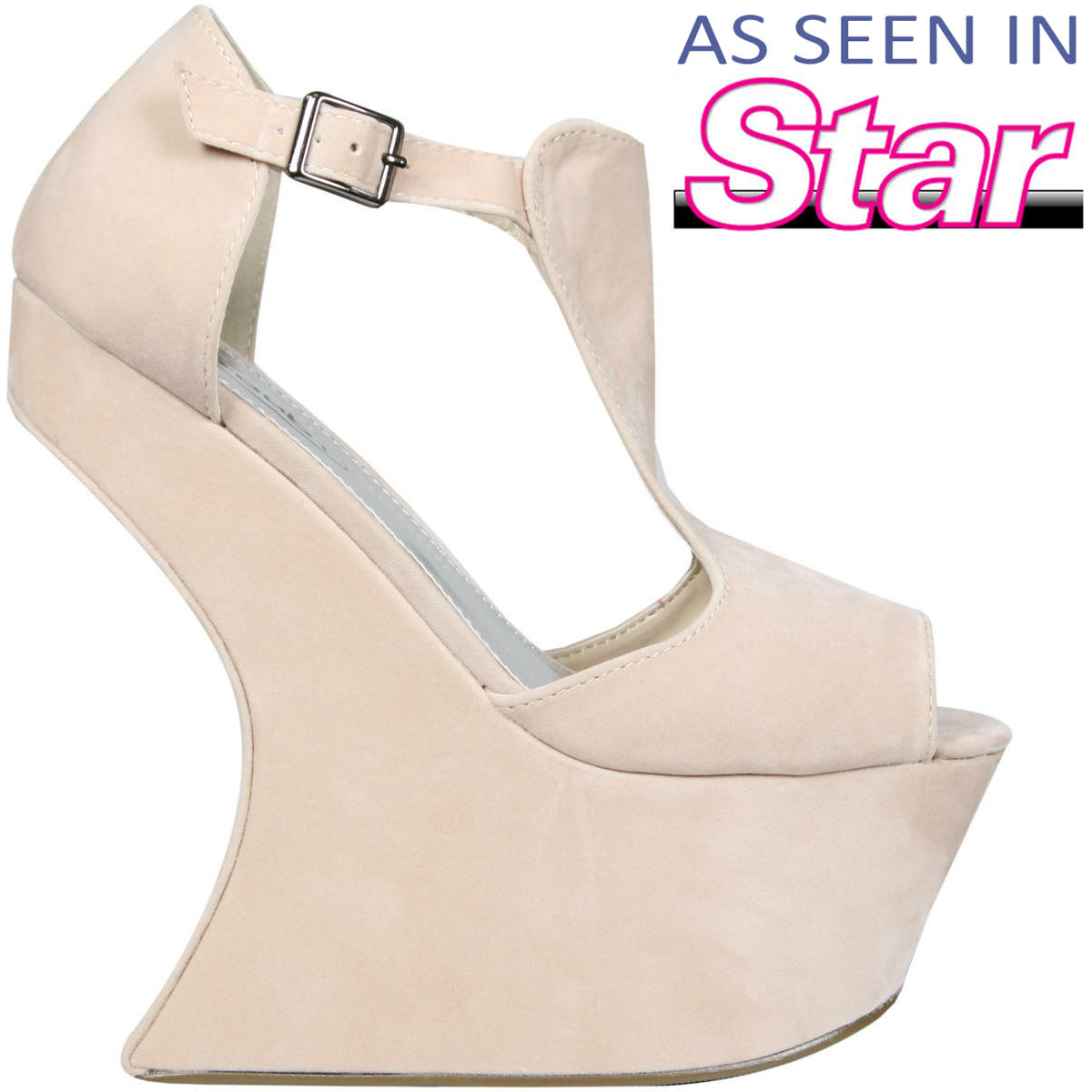 Cream Sculpted Peeptoe Curve Wedge Preview
