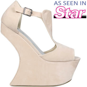 View Item Cream Sculpted Peeptoe Curve Wedge