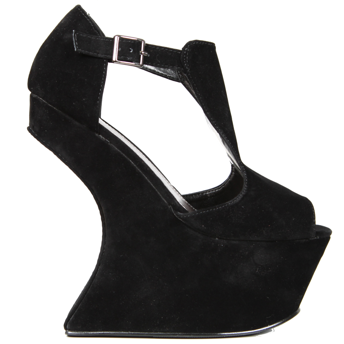 Black T-bar Sculpted Peeptoe Curve Wedge Preview