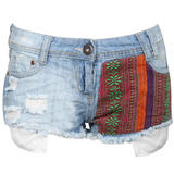 Tribal Print Cut Off Distressed Denim Short