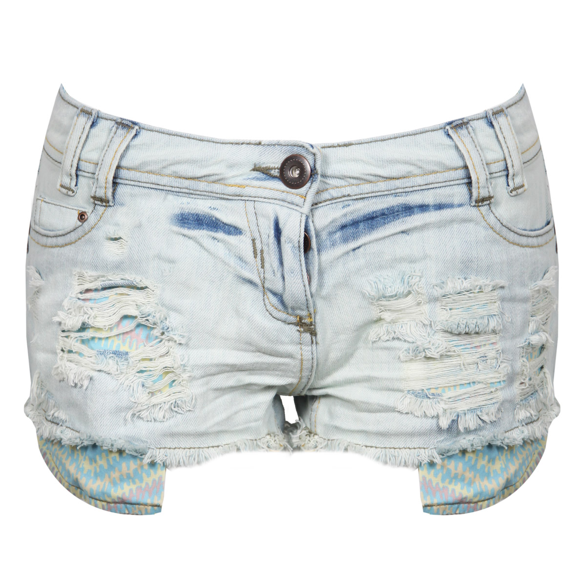 Pastel Aztec Pocket Denim Shorts Preview