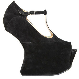 View Item Black T-Bar Sculpted Peeptoe Curve Wedge