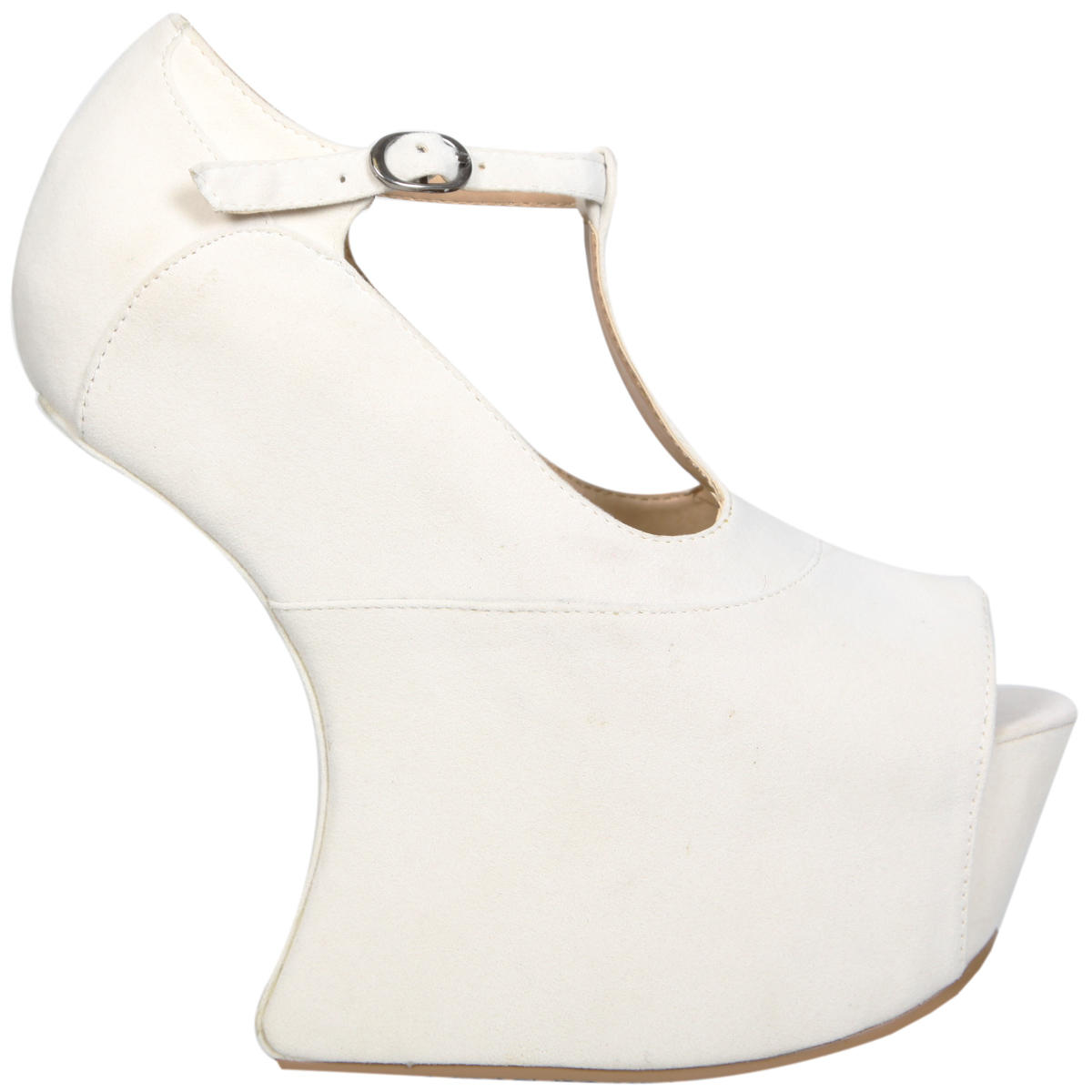 Cream T-Bar Sculpted Peeptoe Curve Wedge Preview