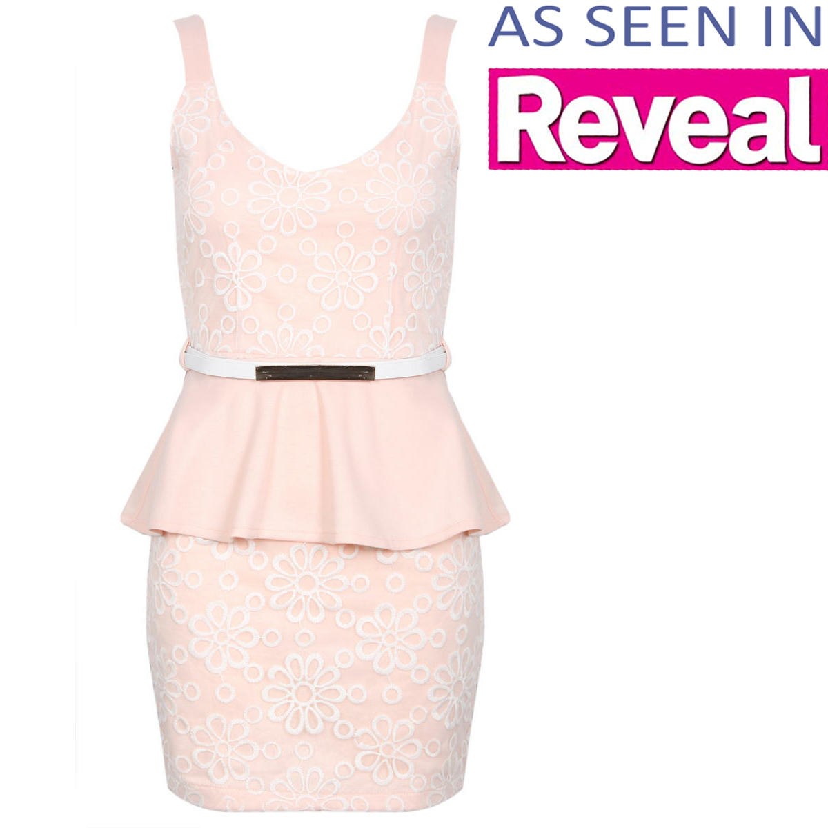 Nude Floral Embroidered Peplum Dress Preview