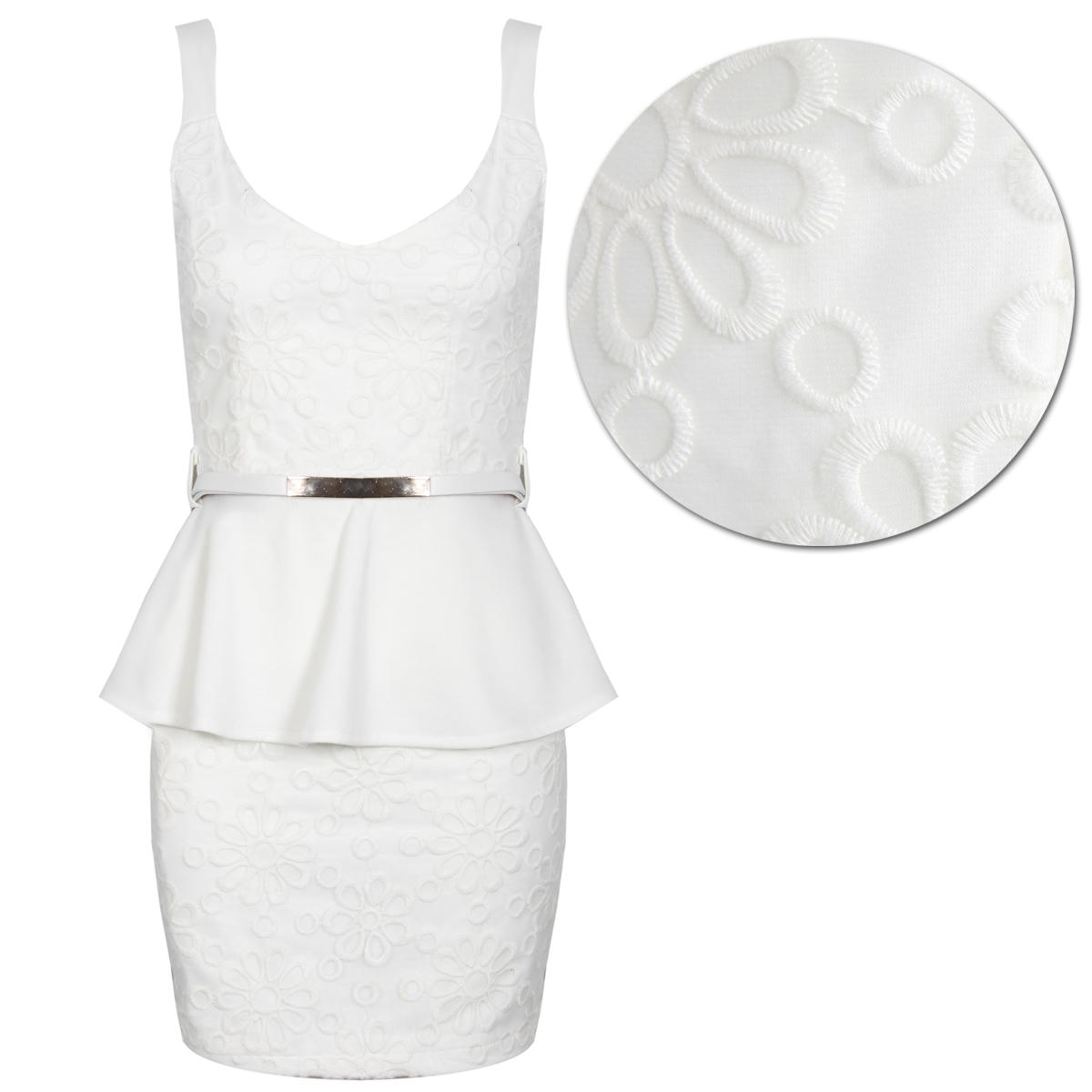 White Floral Embroidered Peplum Dress Preview