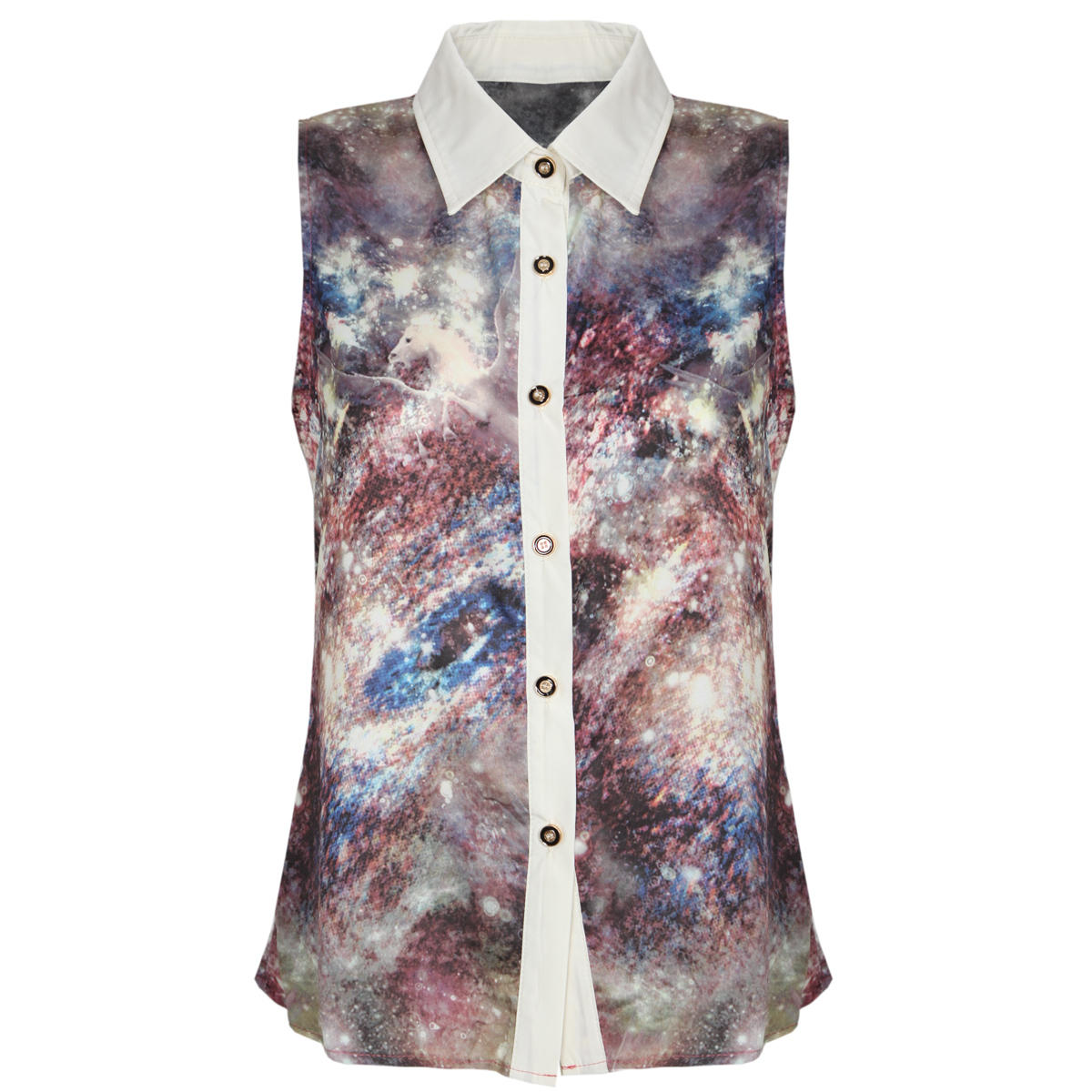 Galaxy Print Sleeveless Shirt Preview
