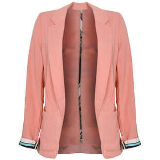 View Item Lighweight Coral Blazer With Scarf Print Cuffs
