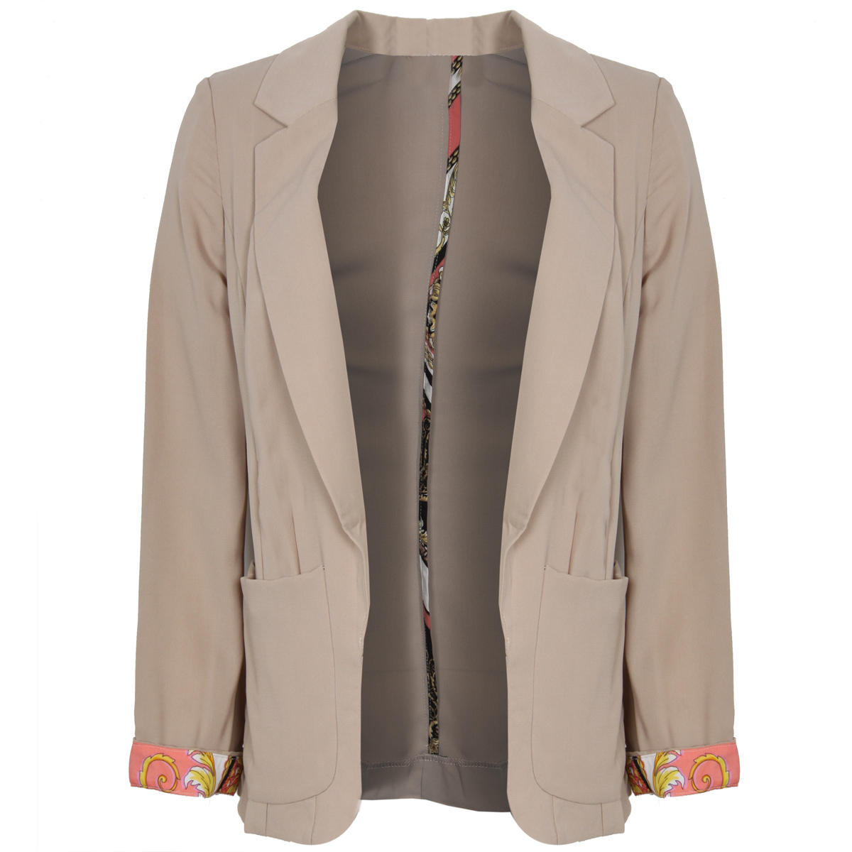 Lightweight Stone Blazer With Scarf Print Cuffs Preview