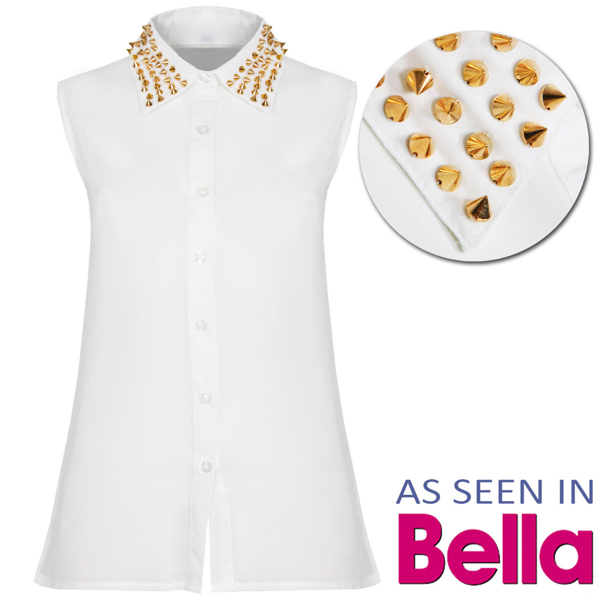 White Studded Collar Sleeveless Shirt  Preview