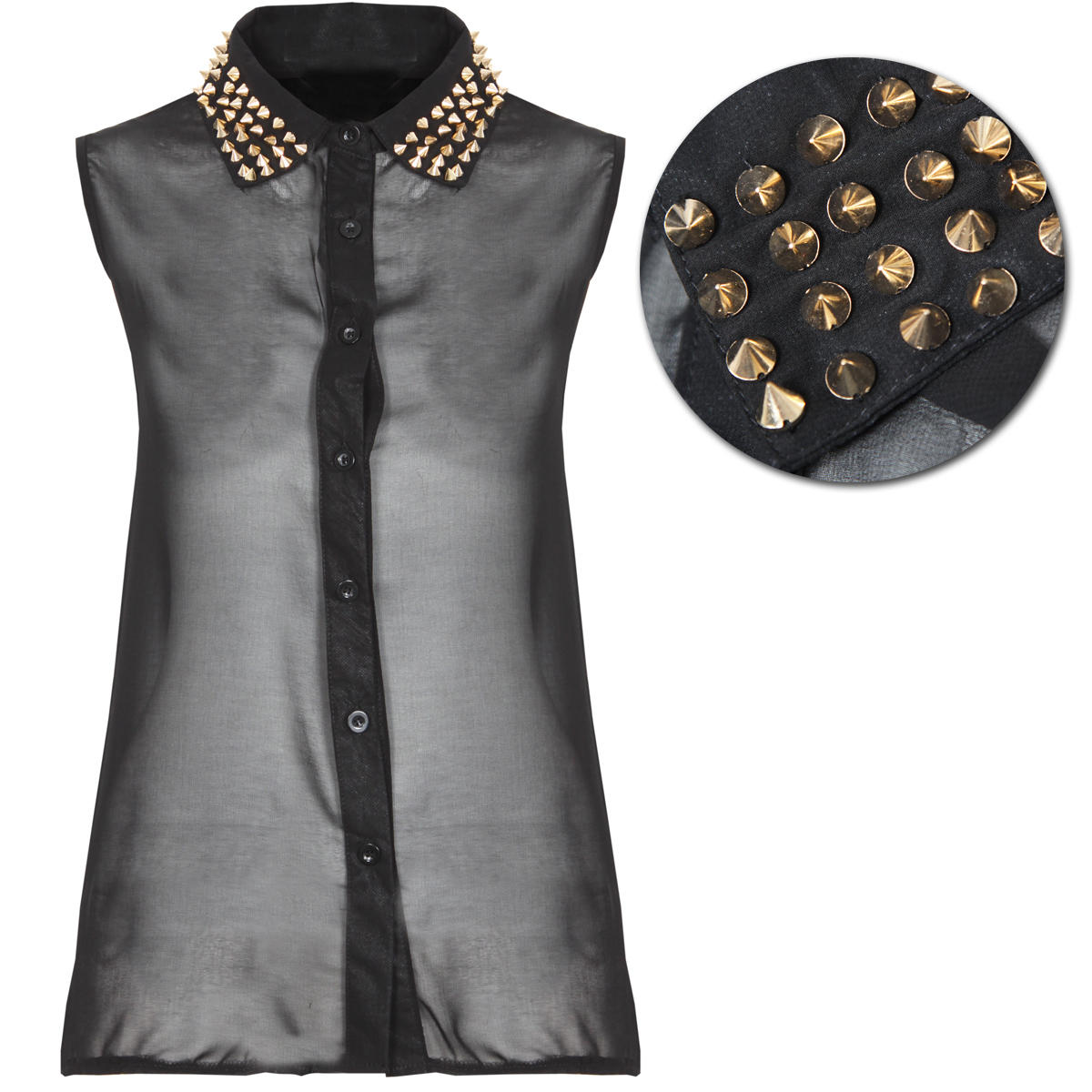Black Studded Collar Sleeveless Shirt Preview