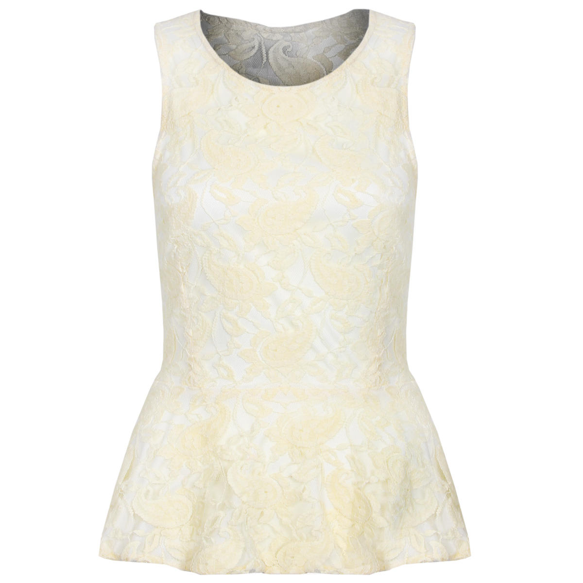 Cream Floral Lace Peplum Top Preview
