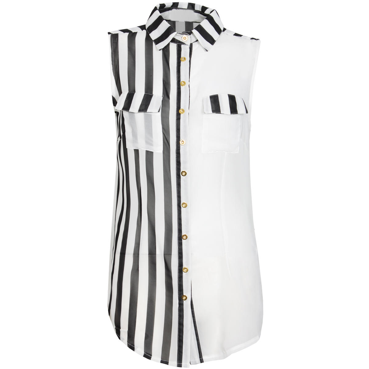 Monochrome Stripe Sleeveless Shirt Preview