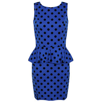View Item Blue Polka Dot Peplum Dress