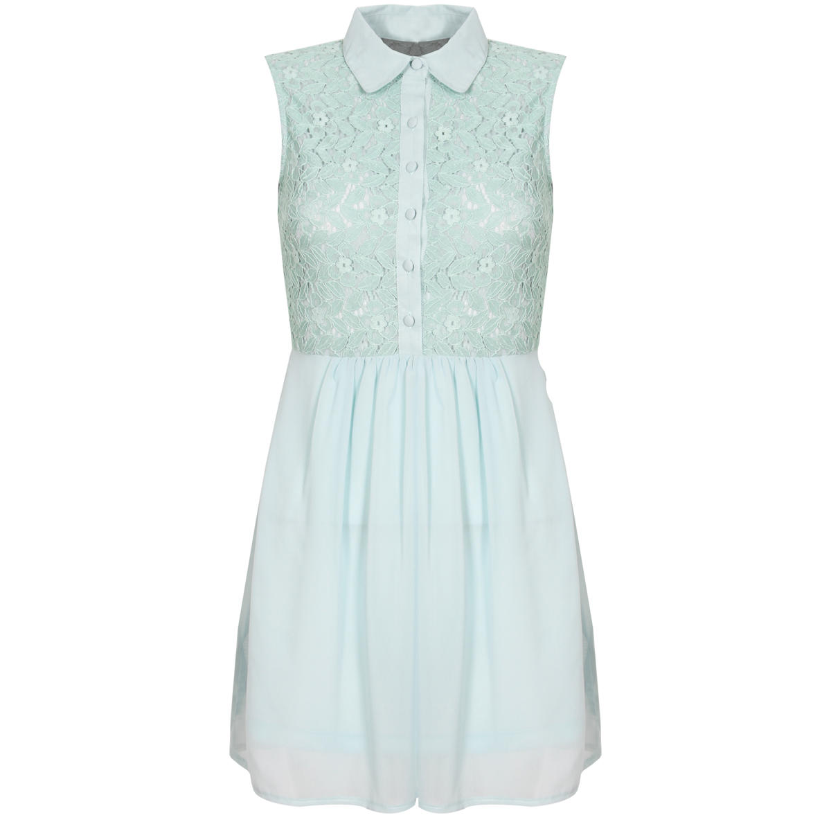 Mint Floral Lace Shirt Dress Preview