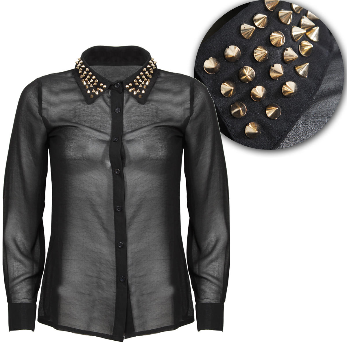 Black Studded Collar Long Sleeve Shirt Preview