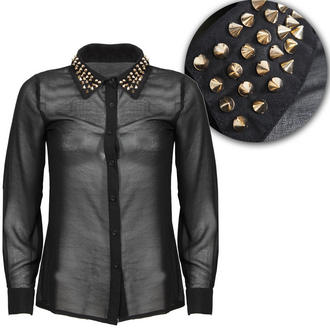 View Item Black Studded Collar Long Sleeve Shirt