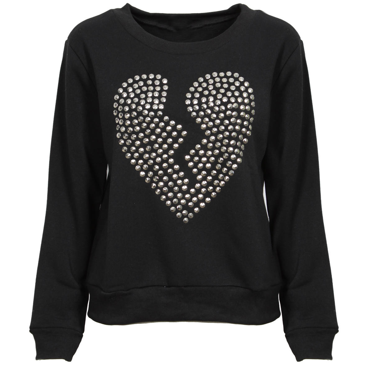 Black Studded Heart Sweatshirt Preview