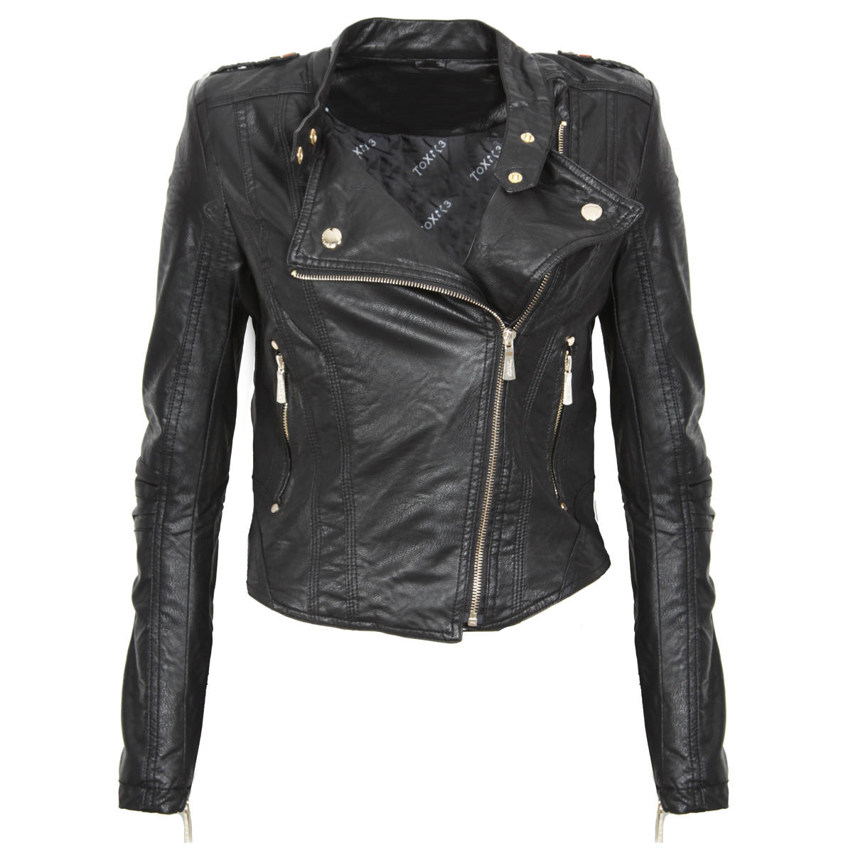 Black Leather Look Biker Jacket Preview