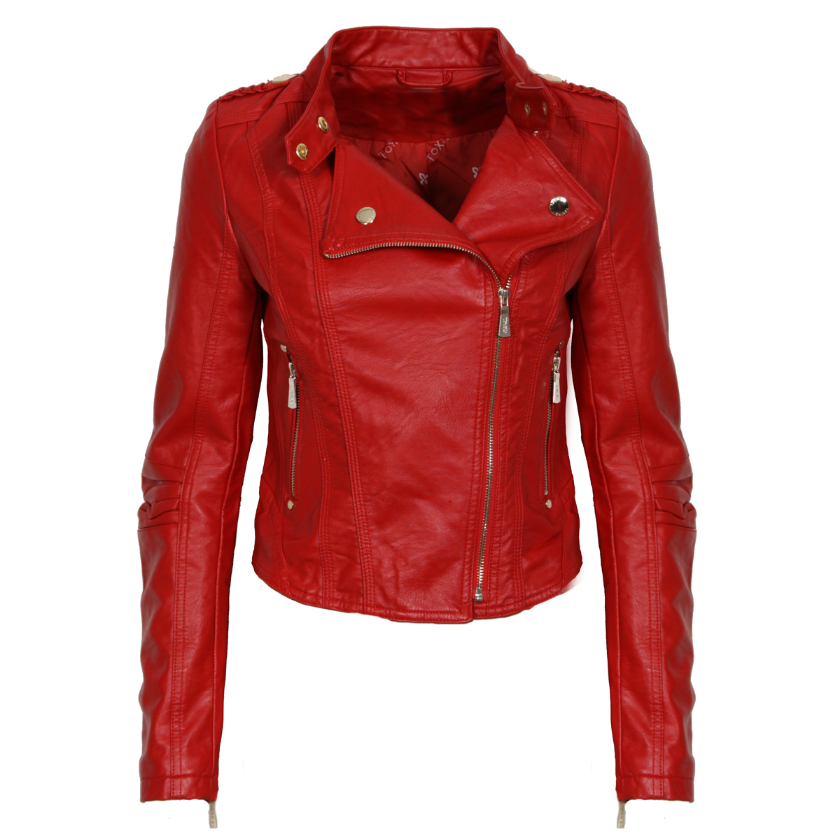 Red Leather Look Biker Jacket Preview